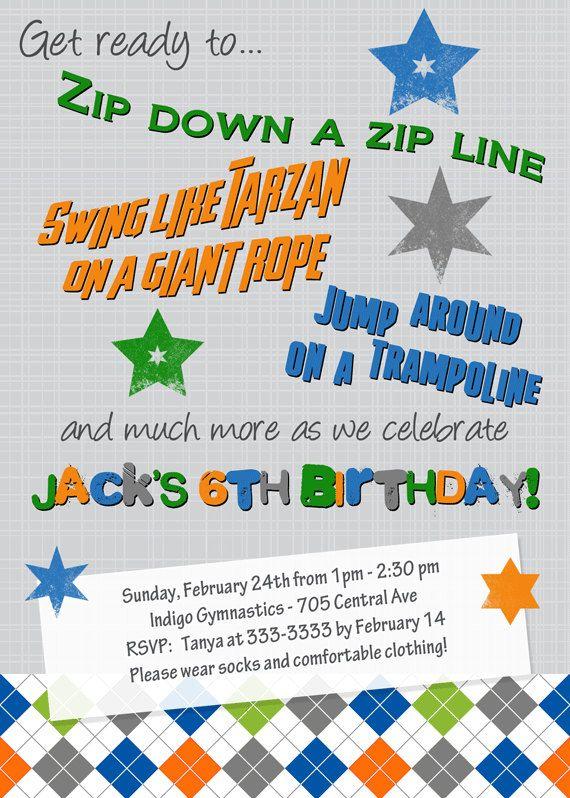 Zipline Birthday Invitation, Ropes Course Invite, Trampoline Party - best of invitation wording for gymnastics party