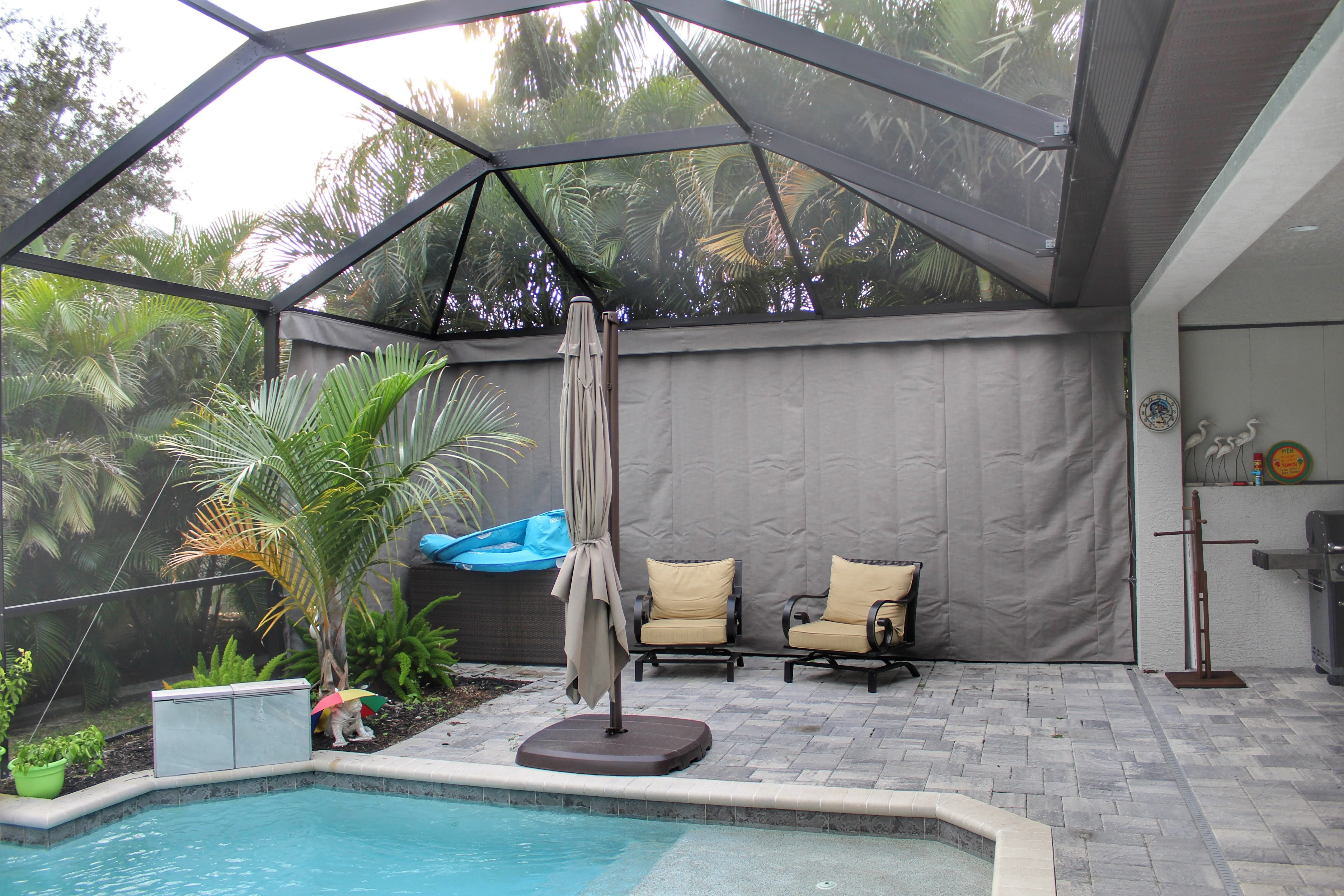 Our Gallery Outdoor Curtains For Ultimate Pool Cage Privacy And Lanai Privacy In 2020 Outdoor Pool Decor Pool Enclosures Outdoor Curtains