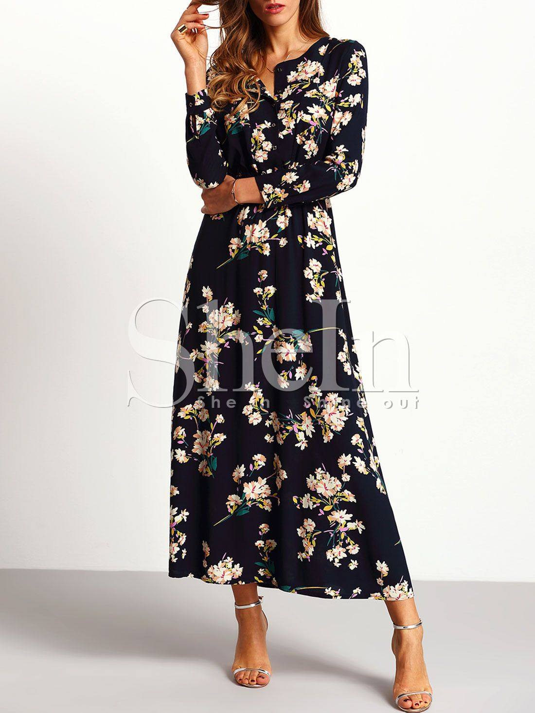 a39ec4f5e1 Shop Navy Long Sleeve Floral Maxi Dress online. SheIn offers Navy Long  Sleeve Floral Maxi Dress & more to fit your fashionable needs.
