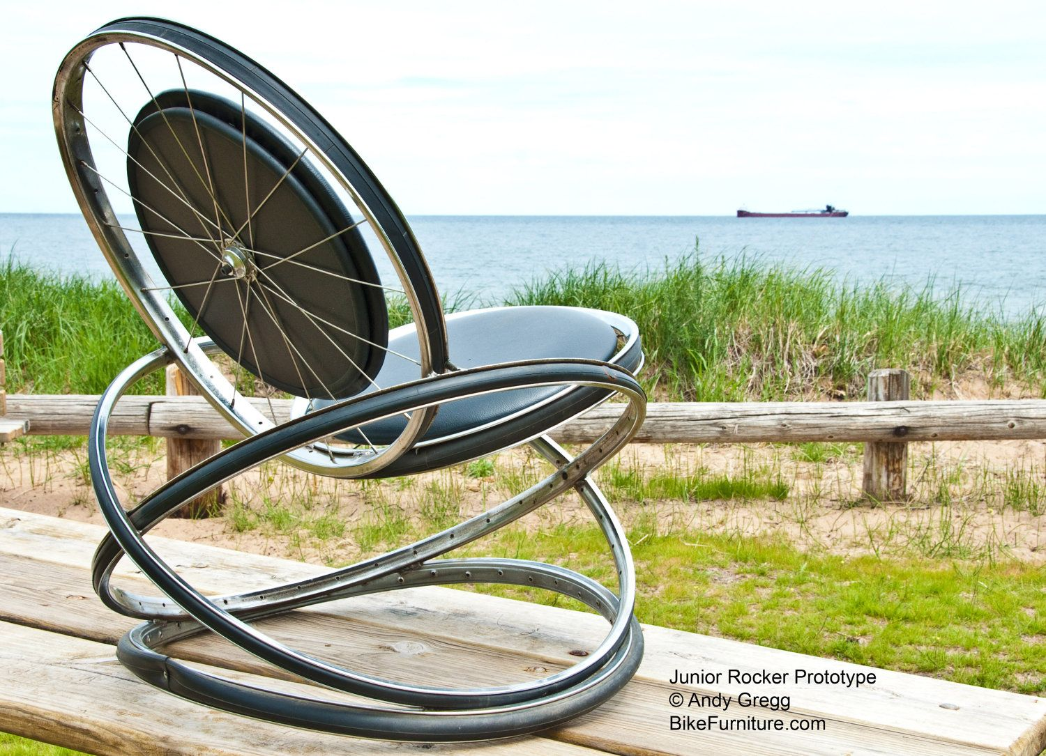 Bicycle Furniture Recycled Bike Part Rocking Chair With Black Cushions Rocking