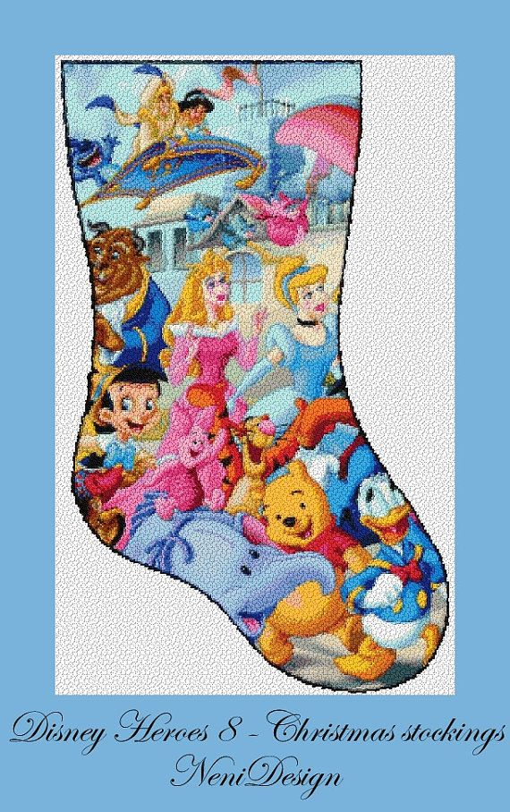 Disney Cross Stitch Christmas Stocking Patterns.Christmas Stockings Disney Heroes 8 Cross Stitch Disney