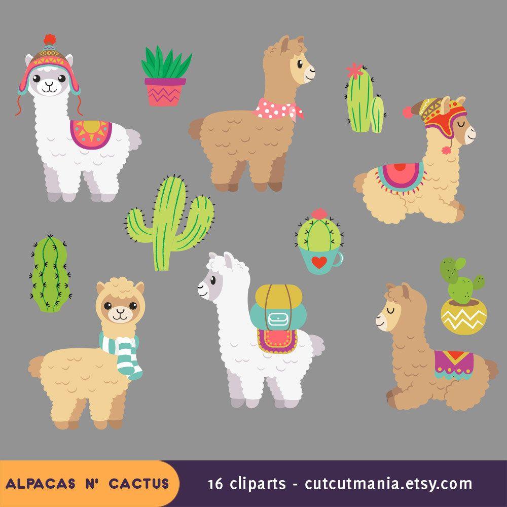 Cute Alpaca Clipart Cute Lhama Clipart Cactus Clip Art Etsy Cute Alpaca Alpaca Drawing Alpaca