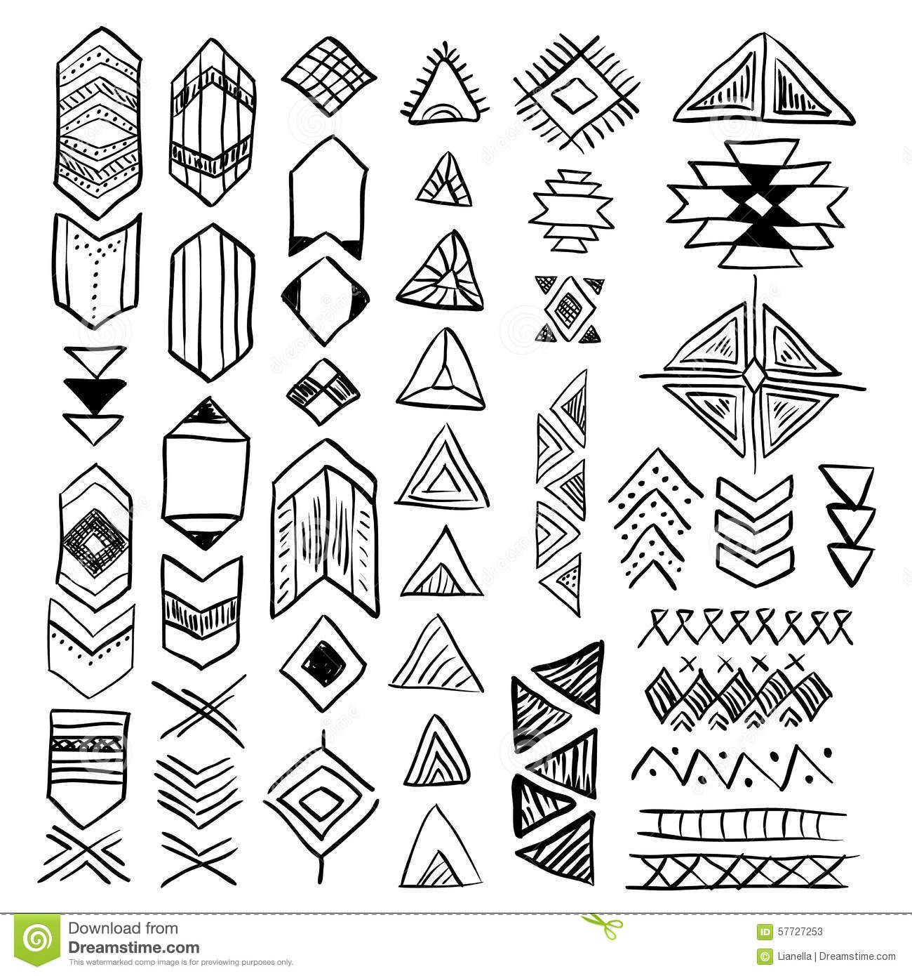 Hand Drawn Doodle Vector Native American Symbols Set