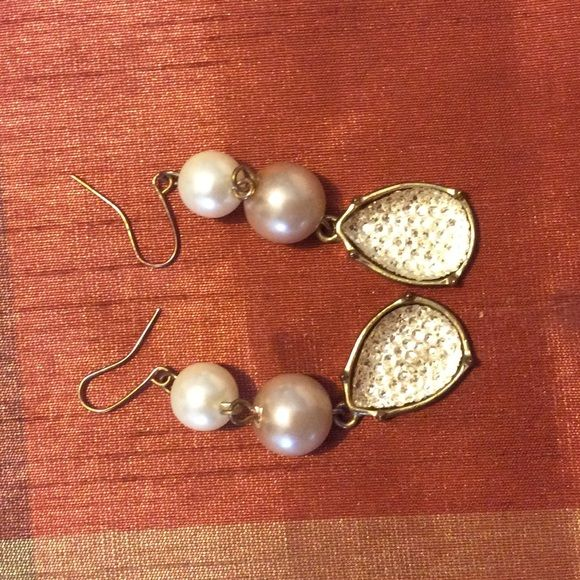 Pearly Cream Tan Dangling Earrings Add An Elegant Touch Dress Barn Jewelry