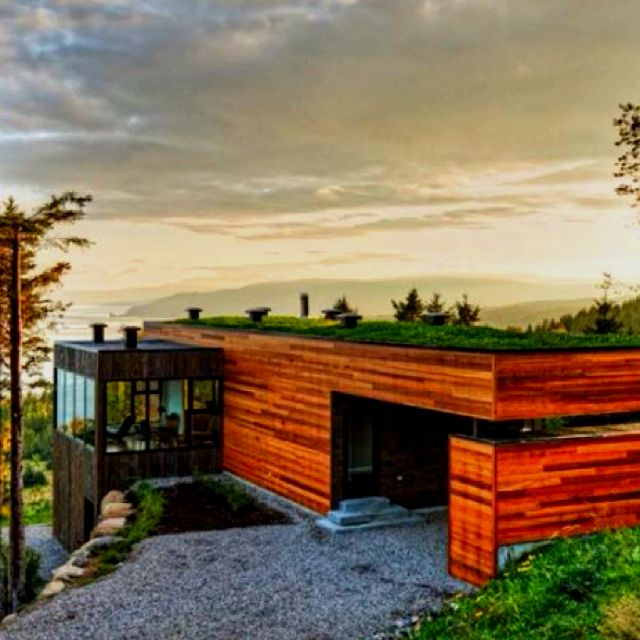 House Built Into Hill Side Grass Roof Exposed Side Wood And