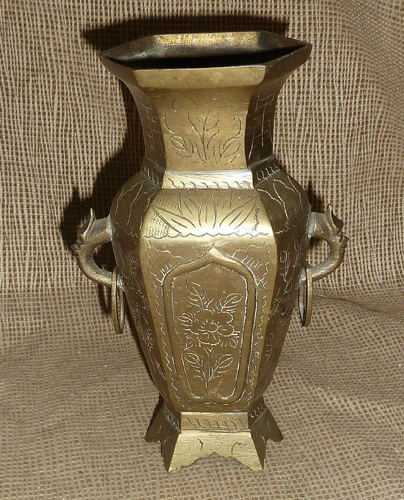 Vintage oriental brass vase made in china brass pinterest vintage oriental brass vase made in china reviewsmspy