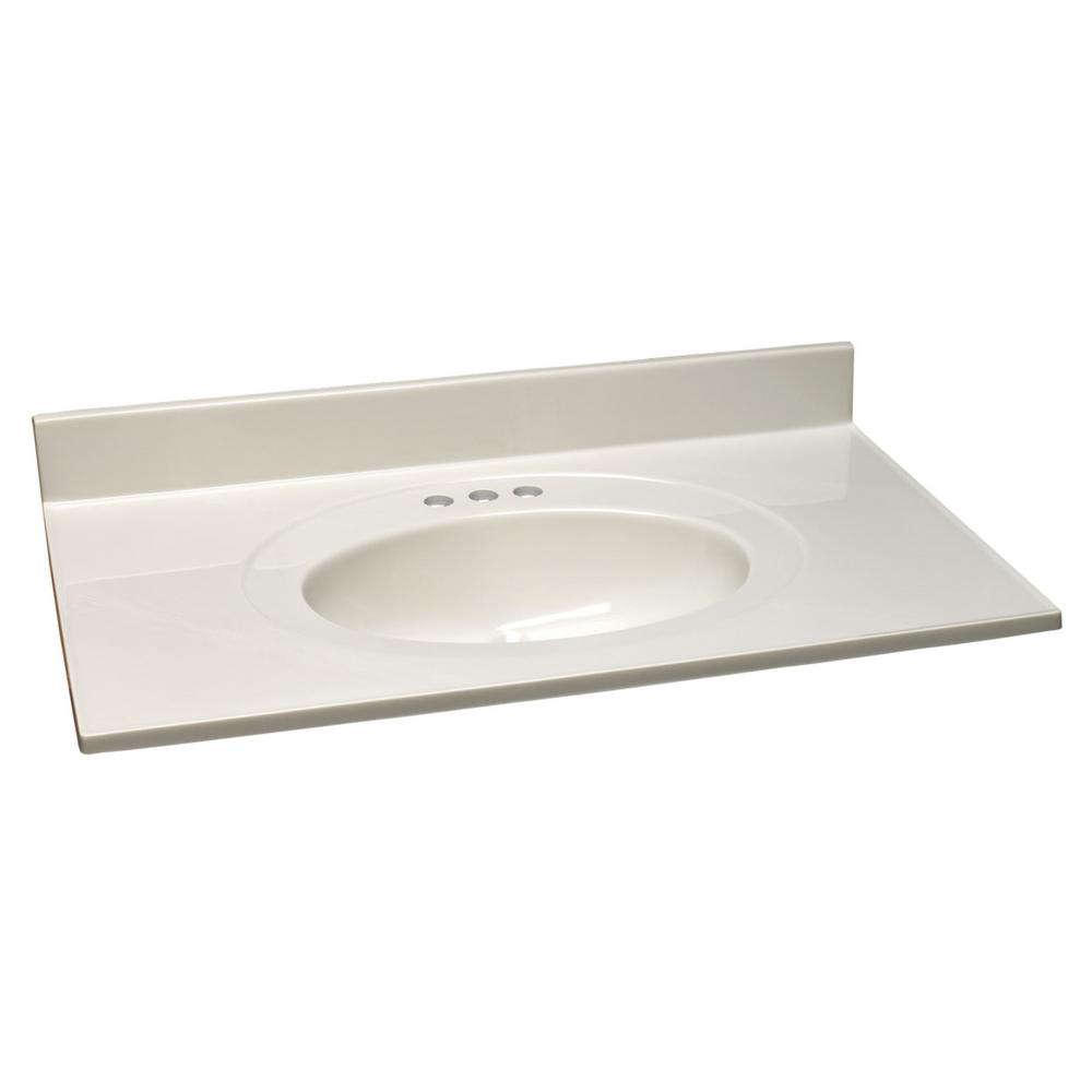 Design House 43 In W Cultured Marble Vanity Top In White On White