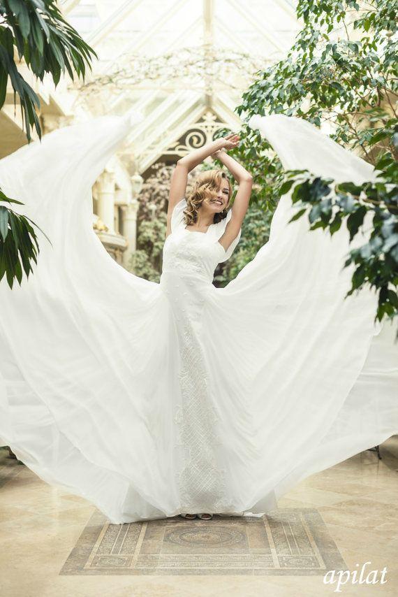 Bohemian Wedding Dress L20 Ivory Chiffon With