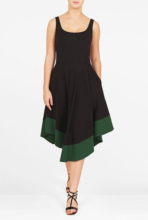 I <3 this Asymmetric contrast hem cotton knit dress from eShakti