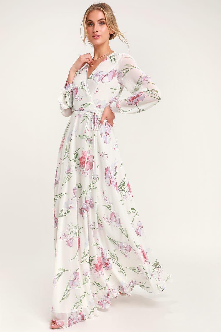 Loving You White Floral Print Long Sleeve Wrap Maxi Dress Maxi Dress Maxi Wrap Dress Dresses [ 1125 x 750 Pixel ]