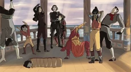 They challenged the equalists to a dance off for republic city. As it turns out, all the air benders can do the moon walk, Asami knows the waltz, Mako and Bolin can break dance and Korra can do some sick tribal dances.