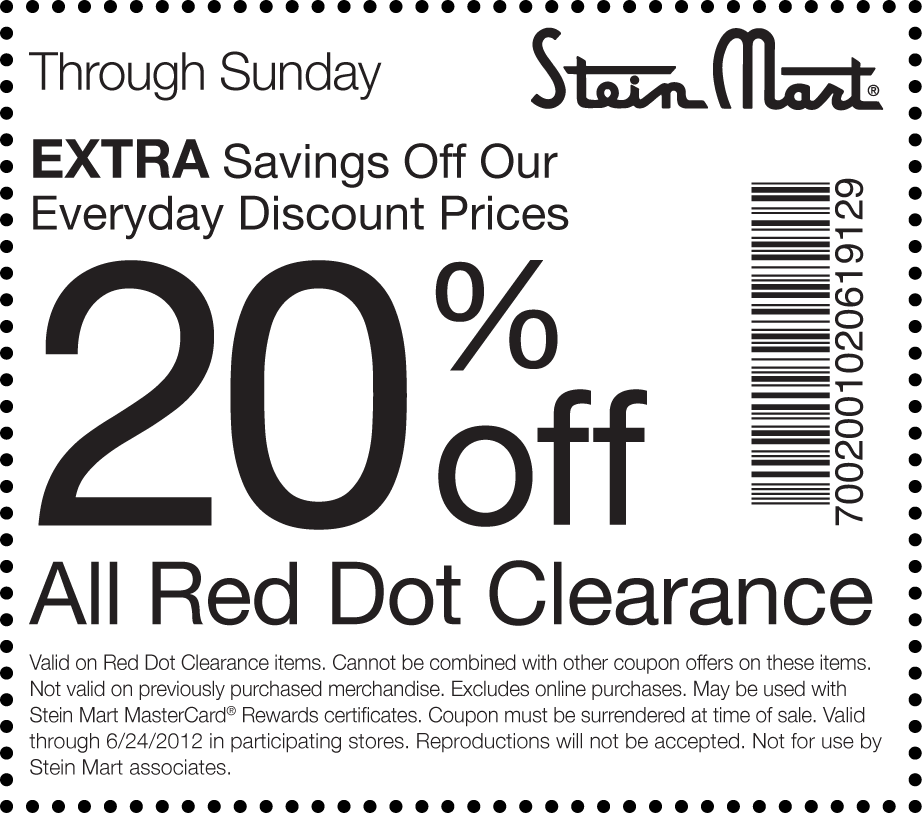 image regarding Stein Mart Printable Coupon identify A lot more 20% off crimson dot clearance at Stein Mart Discount coupons