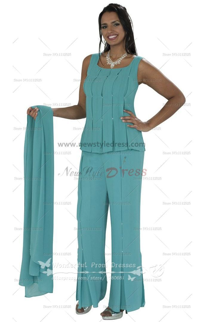 d6b68cff6e5 Chiffon Three Piece mother of the bride pantsuits With cape nmo-060 ...