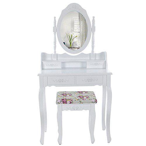 songmics 7 cassetti tavolo cosmetici mobile da trucco da toeletta ... - Mobile Specchio Make Up