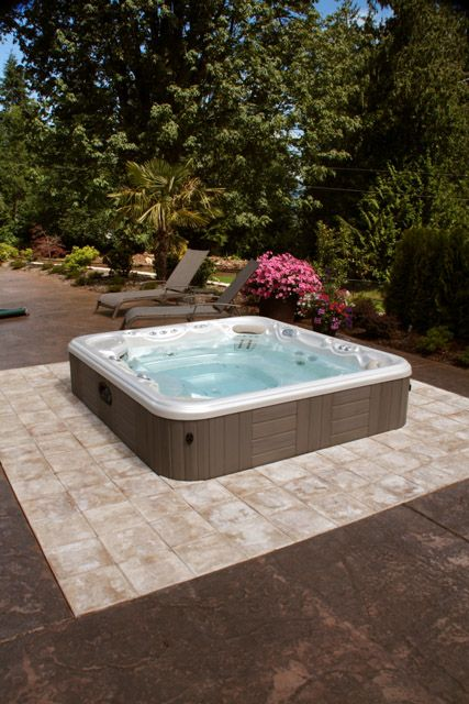 Cement Patio Designs Stained Concrete Floor Designs: Build Your Patio Around Your Hot Tub And Utilize Stamped