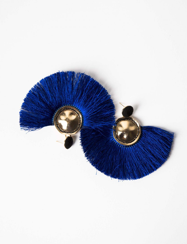 21e4a99cd5f1 Pendientes flecos azul eléctrico