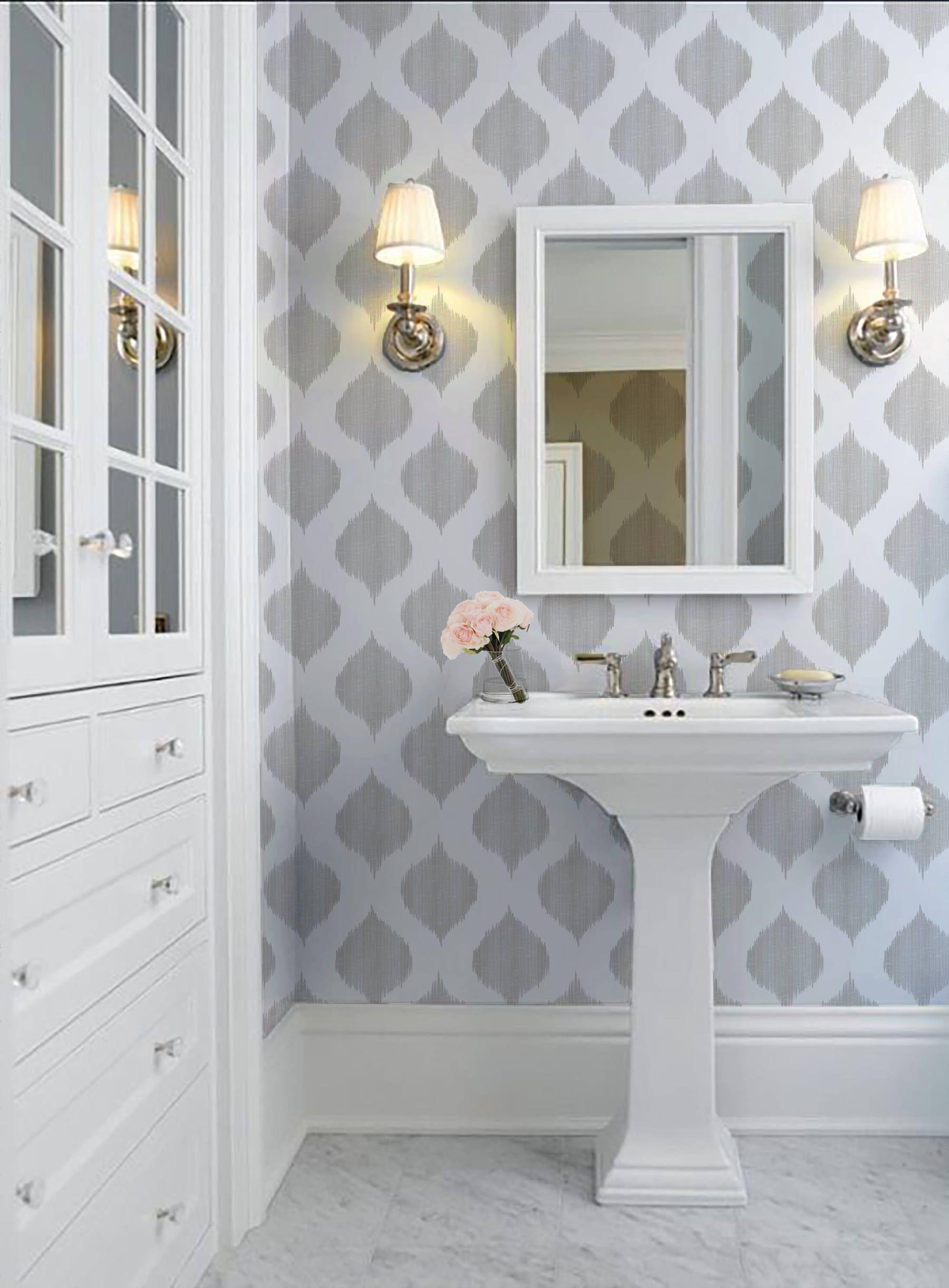 Ikat Dots Repositionable Peel N Stick Wallpaper Etsy Peel N Stick Wallpaper Ikat Dot Bathroom Wallpaper
