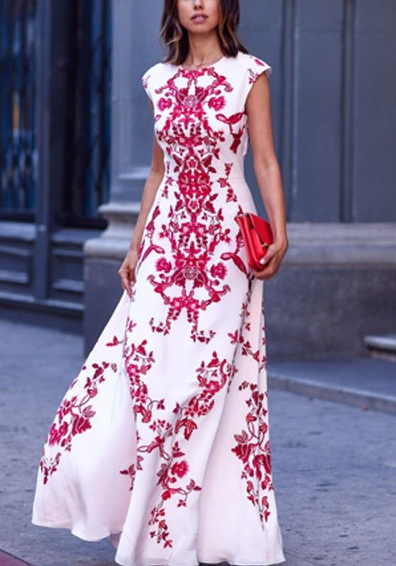 White Red Flowers Print Vintage Lace Boho Maxi Evening Party Elegant Chiffon Maxi Dress - Dresses