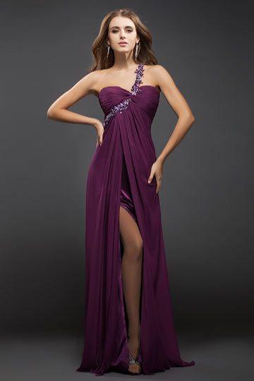 2f940e7d585 Sexy robe de soirée longue asymétrique avec fente haute