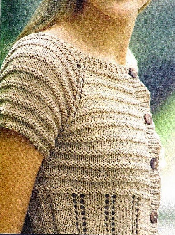 Blusa de verano tejida con dos agujas / palilllos con manga ranglan ...