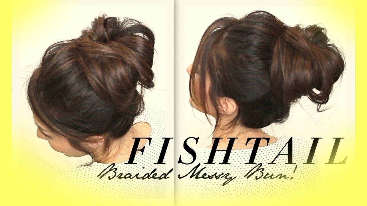 Quick And Easy Hairstyles For Medium Hair ☆ Voluminous Braided Messy Bun Tutorial  Cute Hairstyles For