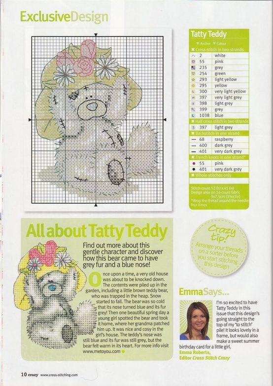 Free Tatty Teddy bear in cross stitch -Past Impressions | cross ...