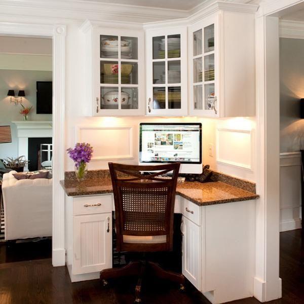 Space Saving Built In Office Furniture In Corners Personalizing Modern Interior Design Built In Furniture Traditional Home Office Home Office Design