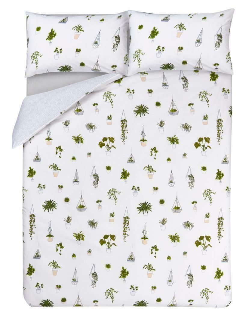 New Double Duvet Cover And 2 Pillow Case Terrarium Plant Cactus Pink Stylish Set