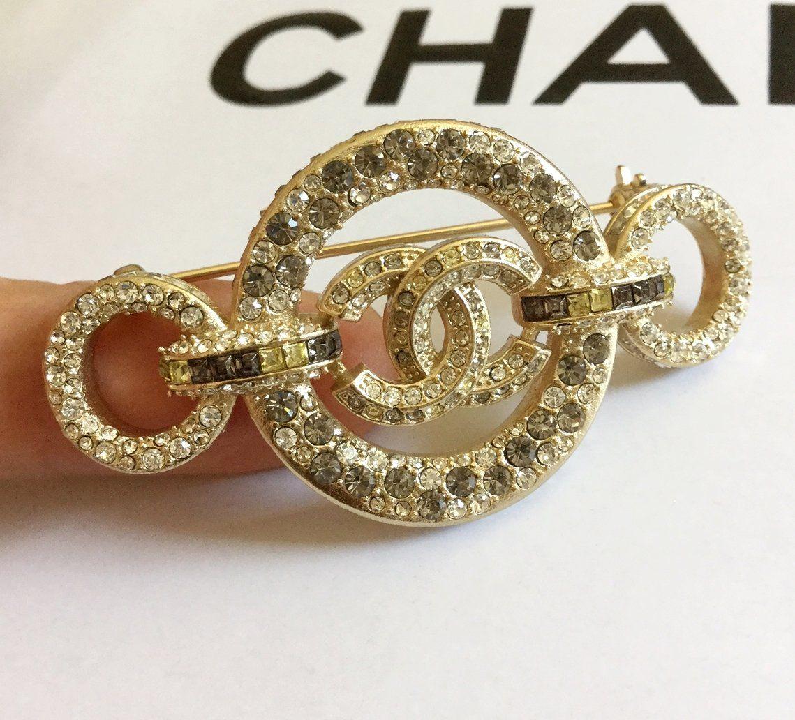 CHANEL+Rome+Paris+Crystal+CC+Brooch+Multi+Color+Byzantine+GOLD+