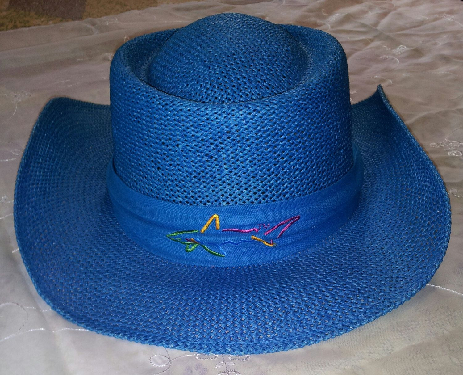 a80e56bc One of a Kind, Teal Colored Straw Hat WORN By GREG NORMAN In A Reebok