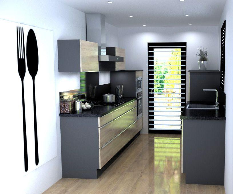 id e d 39 implantation et d 39 am nagement pour une petite cuisine en couloir astuces et id es d. Black Bedroom Furniture Sets. Home Design Ideas