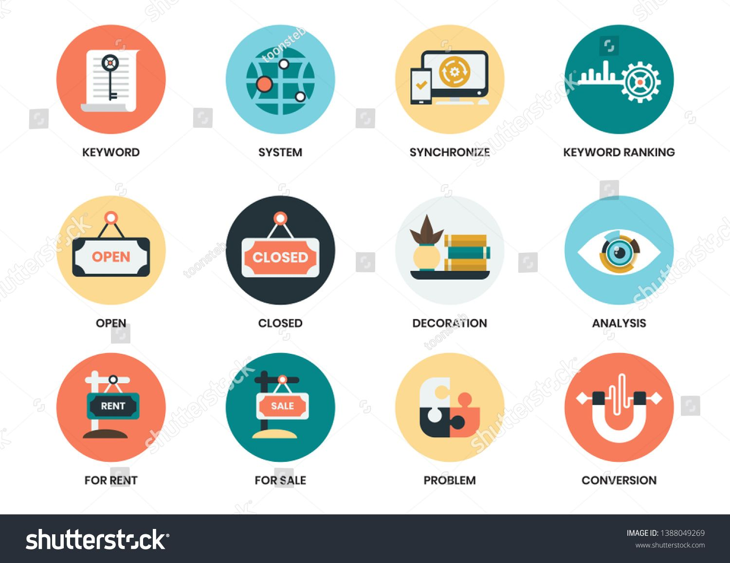 Business Icons Set For Business Marketing Management Sponsored