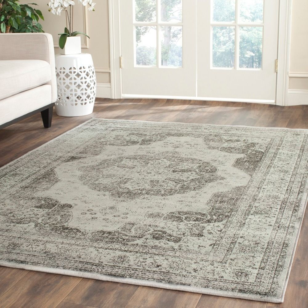 Safavieh Vintage Grey Multi Distressed Silky Viscose Rug 6 7 X 9 2