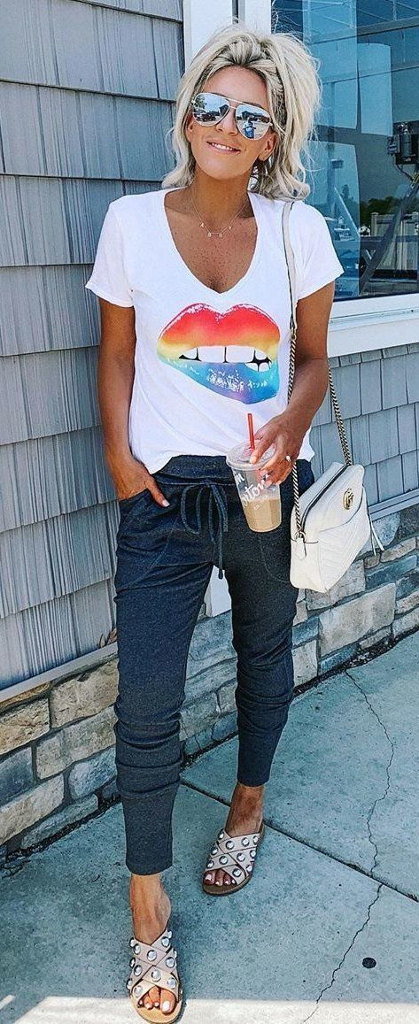 white V neck t shirt and black pants #summer #outfits in