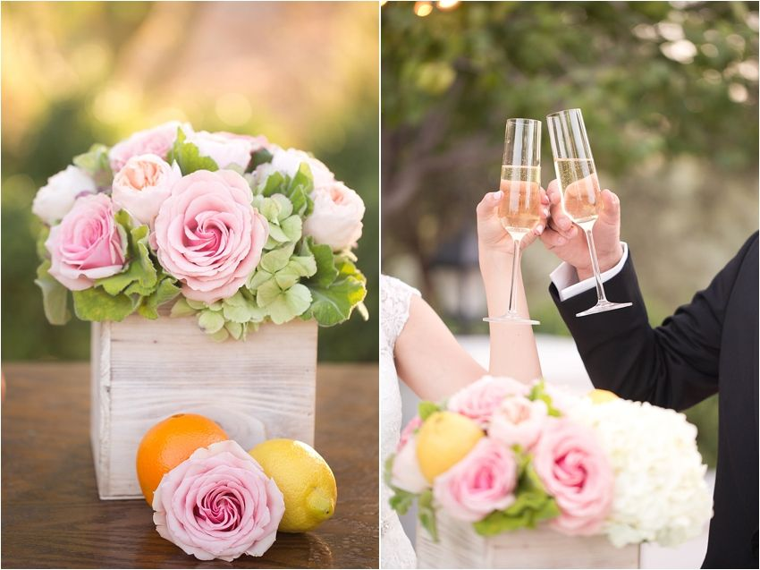 Tangerine Orange, Pink, and White color scheme, citrus and geometric accents.