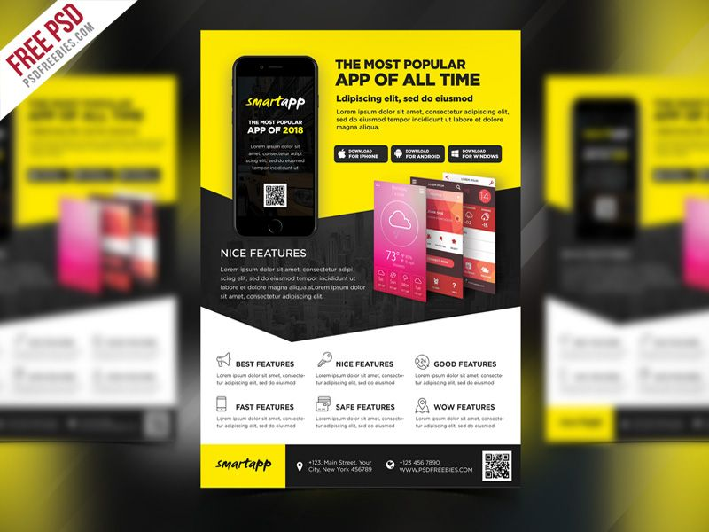 Mobile App Promotion Flyer Template Psd  Flyer Template Mobile