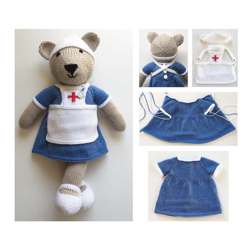 Knitted Teddy Bear Nurse Outfit Pattern Knitted Nurse ...