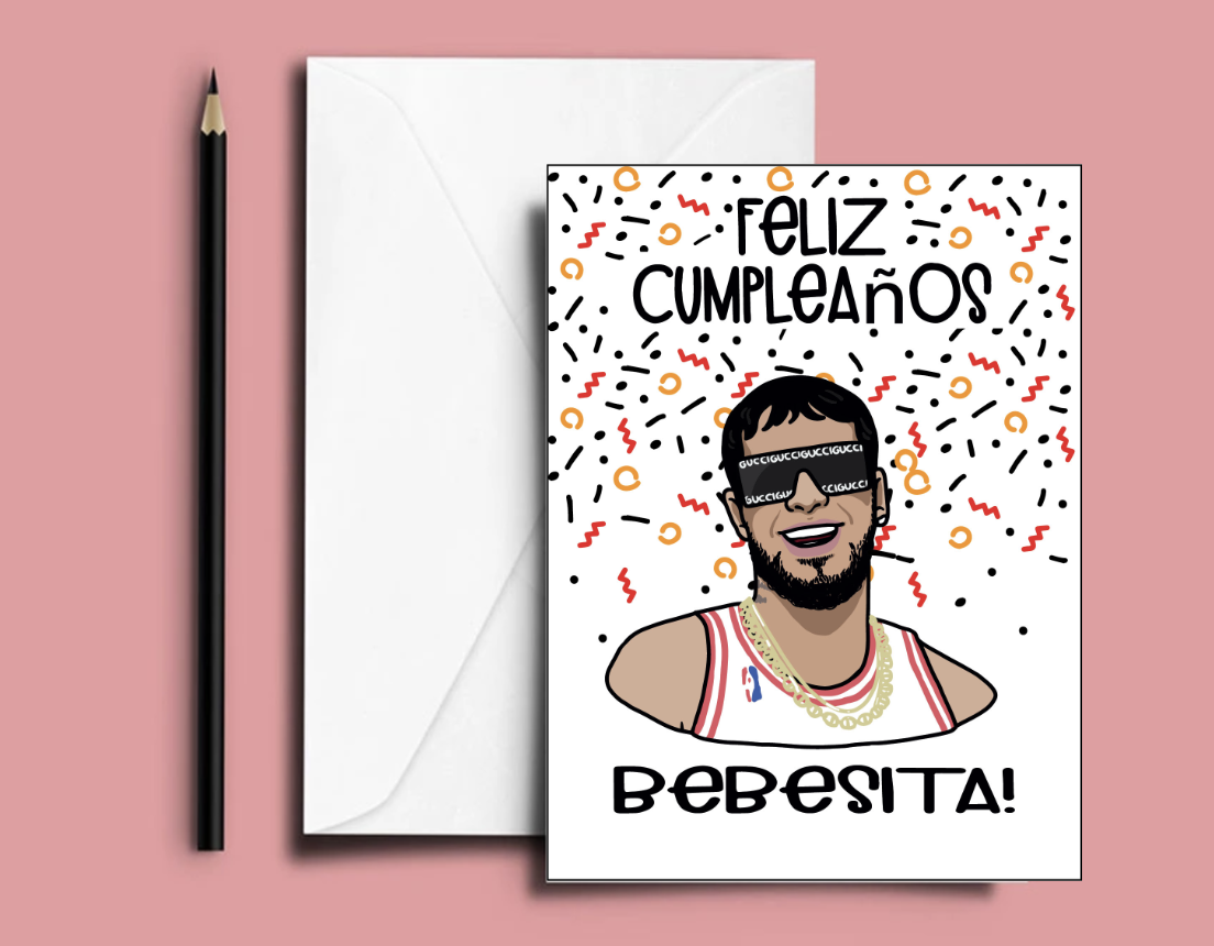 Anuel Aa Birthday Card Feliz Cumpleanos Bebesita Card In Etsy In 2021 Custom Gift Cards Birthday Cards Cards