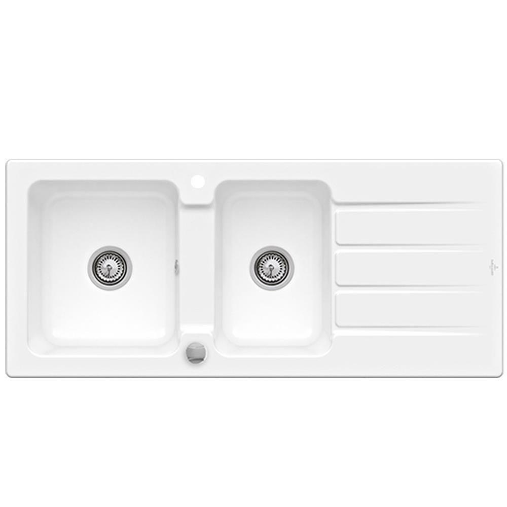 Evier Le Plus Resistant evier céramique blanc villeroy & boch architectura 2 bacs 1