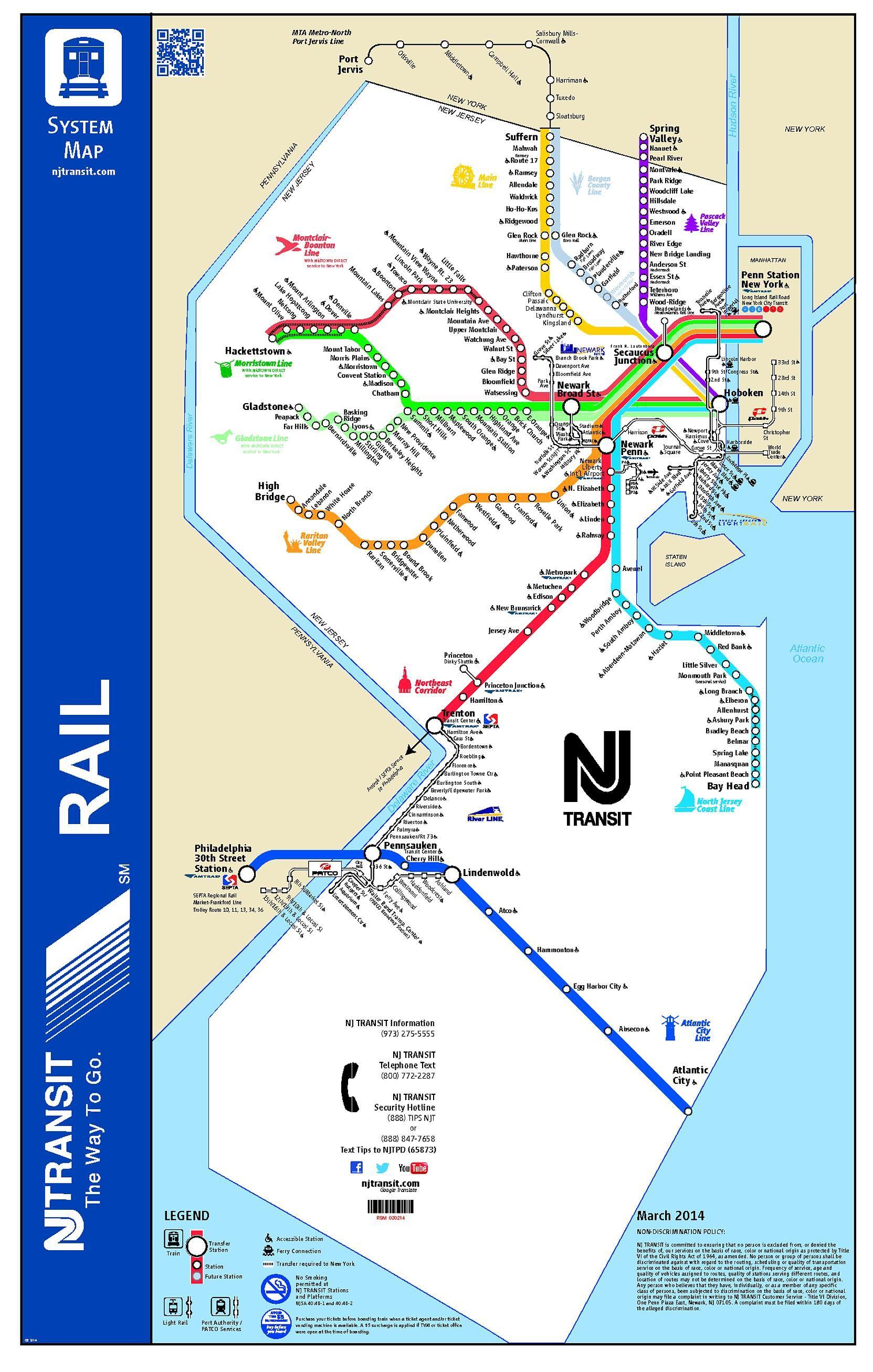 Nj Transit Subway Map.The Rail Map Of New Jersey 1663x2614 Maps Map New Jersey Usa