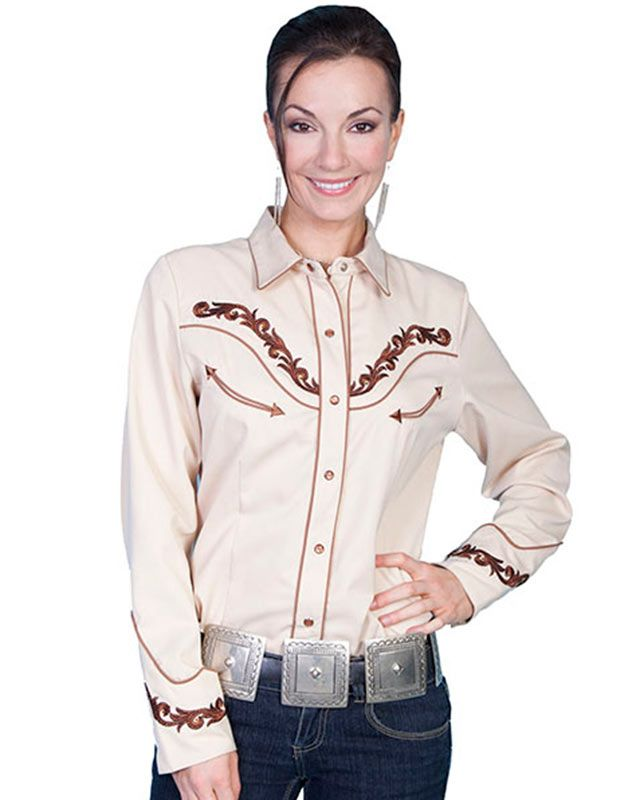 Scully Women's Tan and Brown Retro Floral Embroidered Western ...