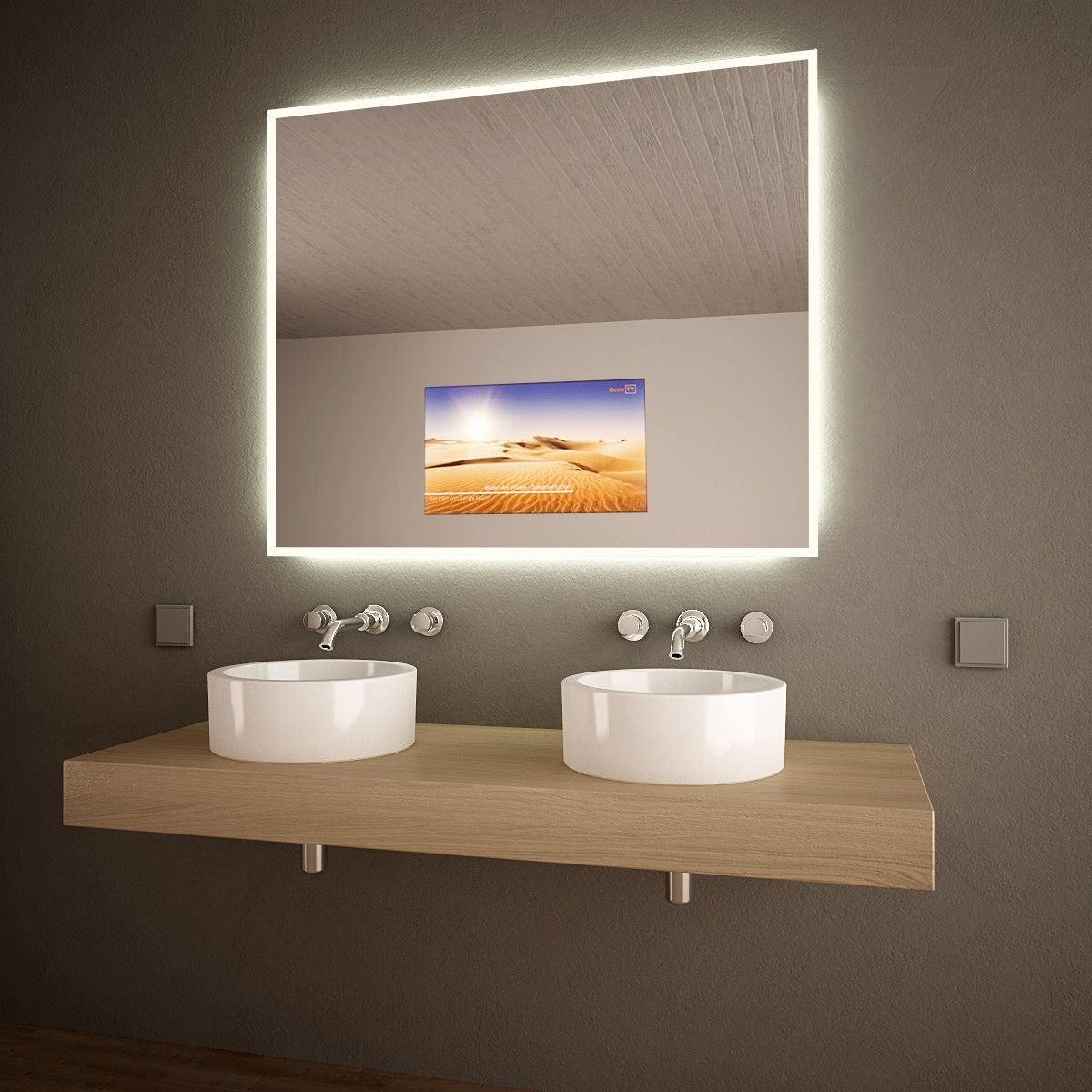 Tv Spiegel Waving Ein Umlaufender Satinierter Rahmen Am