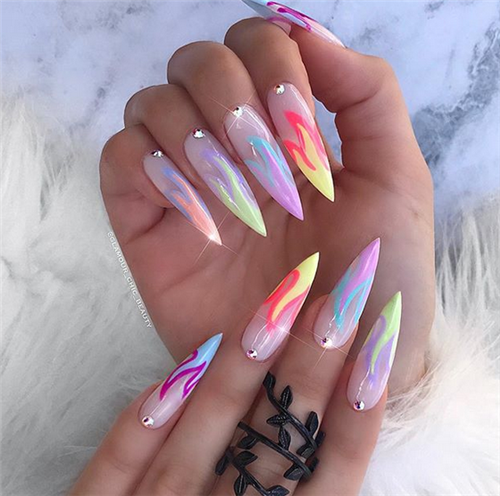 Acrylic Stiletto Nails Designs You May Love In Summer Nail Art Connect Stilettonails Acrylicnails Stiletto Nails Designs Neon Nails Acrylic Nail Shapes