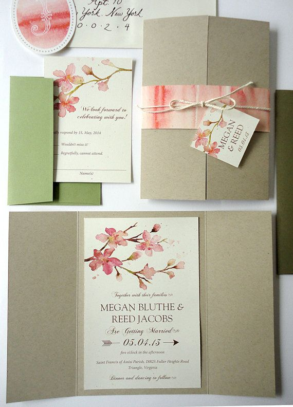 sample peachy blossoms watercolor wedding invitation set pewter gate fold