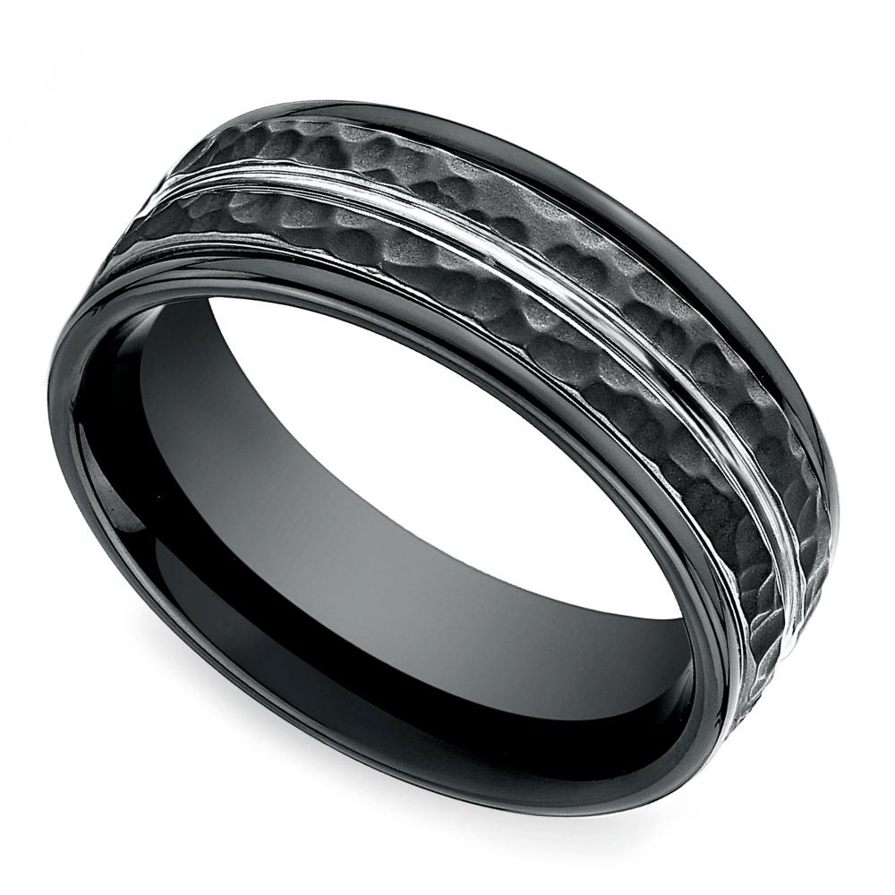Hammered Men's Wedding Ring In Blackened Cobalt Mens