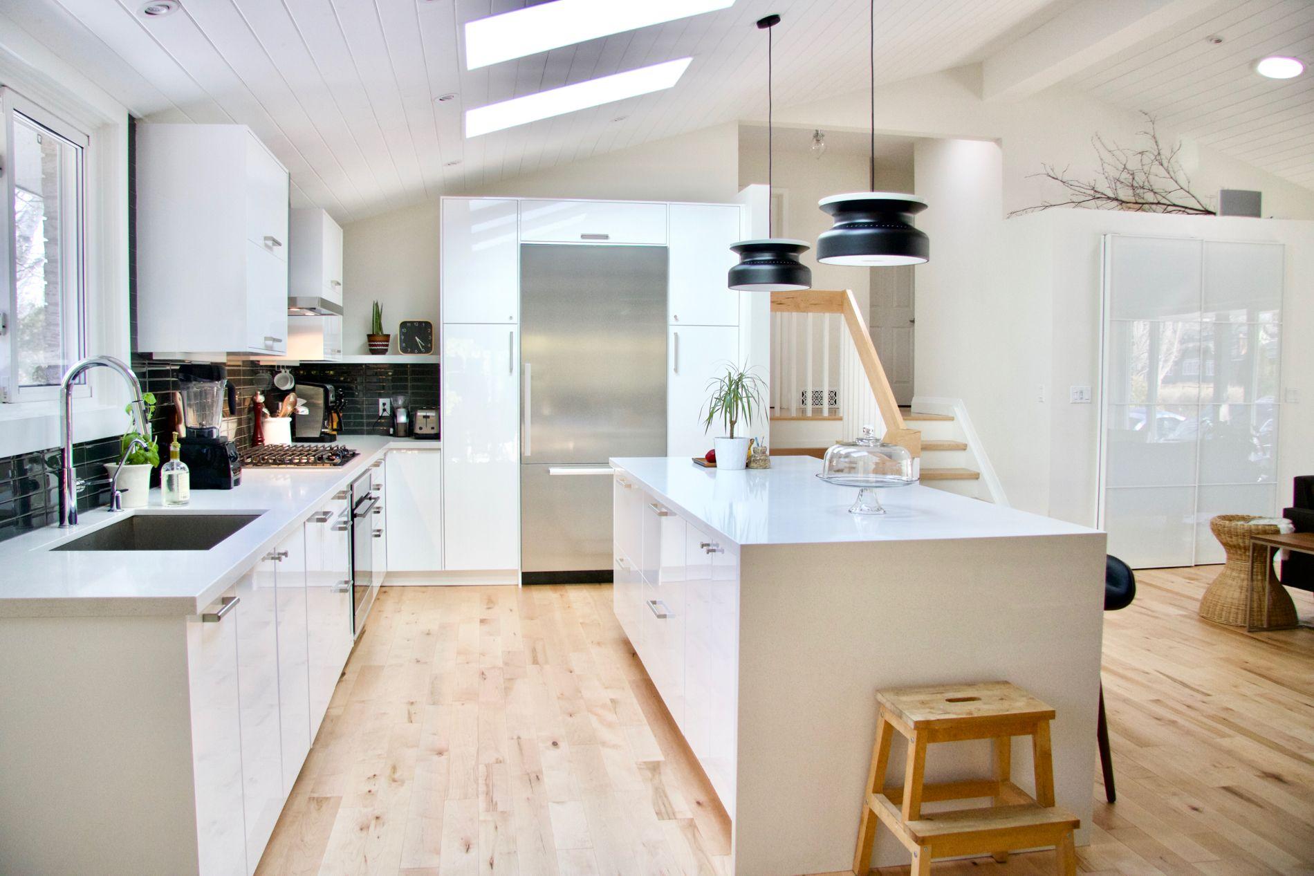 Ikea kitchen   midcentury modern kitchen   white kitchen   vaulted ...