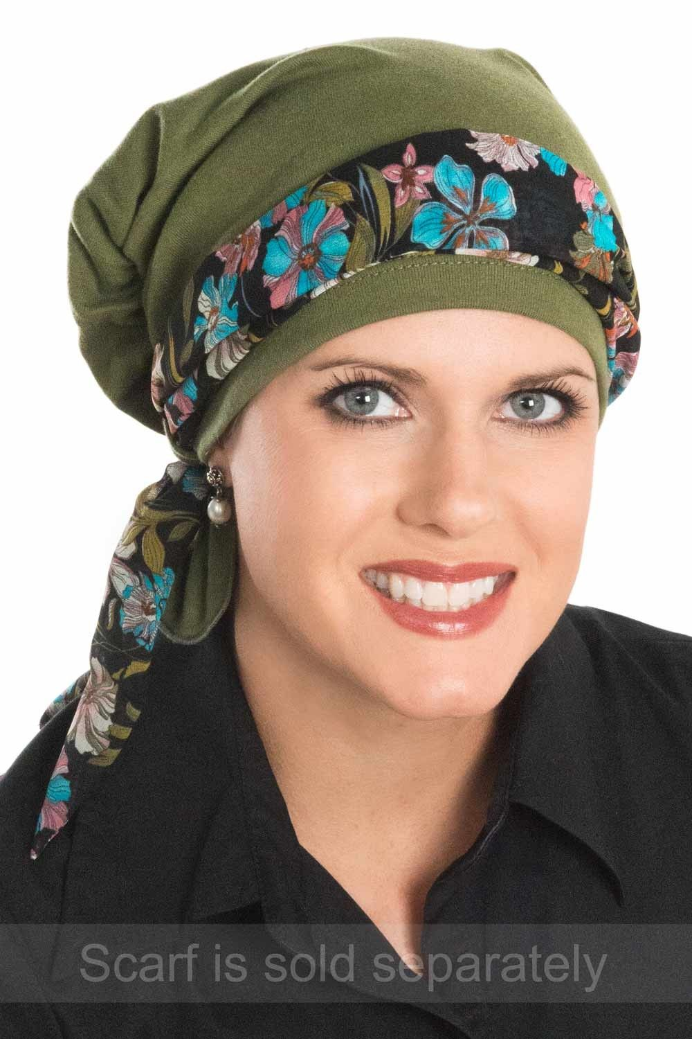 scarf beanie for chemo and cancer patients pictured in aqua ...