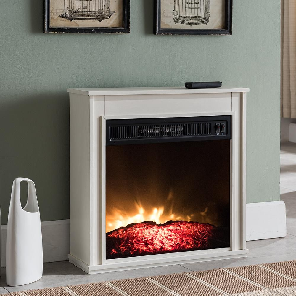 Hampton Bay 23 In Compact Electric Fireplace In White Electric
