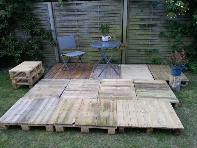 Holz Europaletten Bodenbelag Garten Praktisch Idee Diy Garden In
