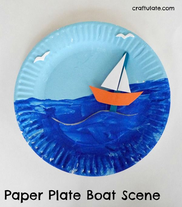Paper Plate Boat Scene - a fun craft for kids with movable boat #craftsforkids